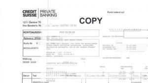 Depotauszug von Credit Suisse Private Banking