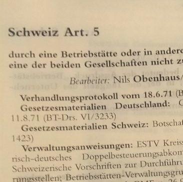 Obenhaus in Wassermeyer DBA_EL151_Schweiz Art. 5 zu Betriebsstätten