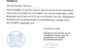 Bescheinigung des Obergerichts Zürich über den Eintrag in die Anwaltsliste